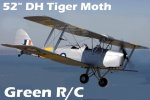 51 inch Green RC Tiger moth (Silver scale color scheme) GST Inc (AUS Warehouse)