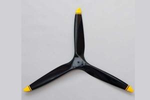 Biela 23x10 3-Blade Carbon Fiber Propeller, Black with Yellow Tips GST Inc (AUS Warehouse)