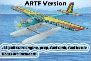 GREEN RC Rocky-18 RTF water plane with GMS PULL START Engine and Floats (AUS Warehouse)