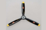 Biela 28 x12 3-Blade Carbon Fiber Scale Propeller, Black with Yellow Tips
