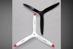 Biela 26x16 3-Blade Carbon Fiber Propeller (Turbo-Prop) , White with Red Tips