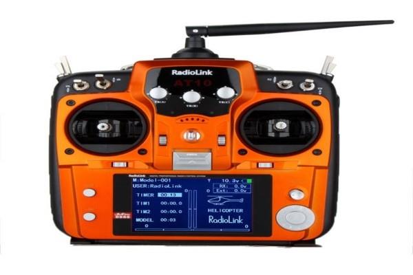 RadioLink AT10II+R10DS+PRM- 01 2.4GHz 10CH Transmitter & Receiver&EXT voltage telemetry sensor Grey&Orange (Global Warehouse)