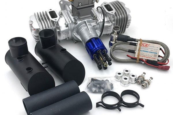 DLE 130 cc Twin Cylinder Petrol Engine (2-3 kg more thrust than 120cc) Wide range battery option 4.8-12V for CDI (Global Warehouse)